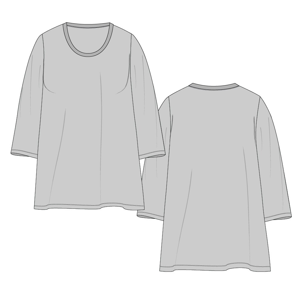 Womens-Plus 101 Loose Straight Hem Tee Regular Length-Set-In 3-Quarter Sleeve, Twin-Needle Hem-Plain-Front Mid-Scoop Band-Bind Neckline-NETNNPULSRTN-18-28