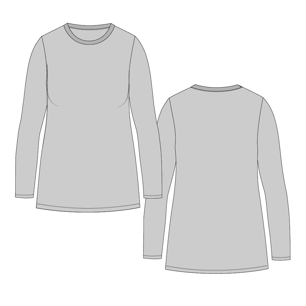 Womens-Plus 031 Tight Straight Hem Tee Regular Length-Set-In Wrist Sleeve, Twin-Needle Hem-Plain-Front Mid-Crew Band-Bind Neckline-NETNNPULSRTN-18-28