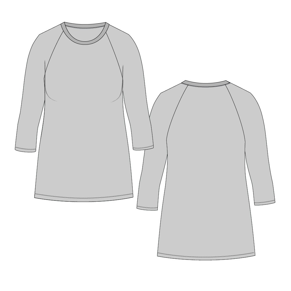 Womens 051 Tight Straight Hem Tee Regular Length-Raglan 3-Quarter Sleeve, Twin-Needle Hem-Plain-Front Low-Crew Band-Bind Neckline-NETNNPULSRTN-6-16