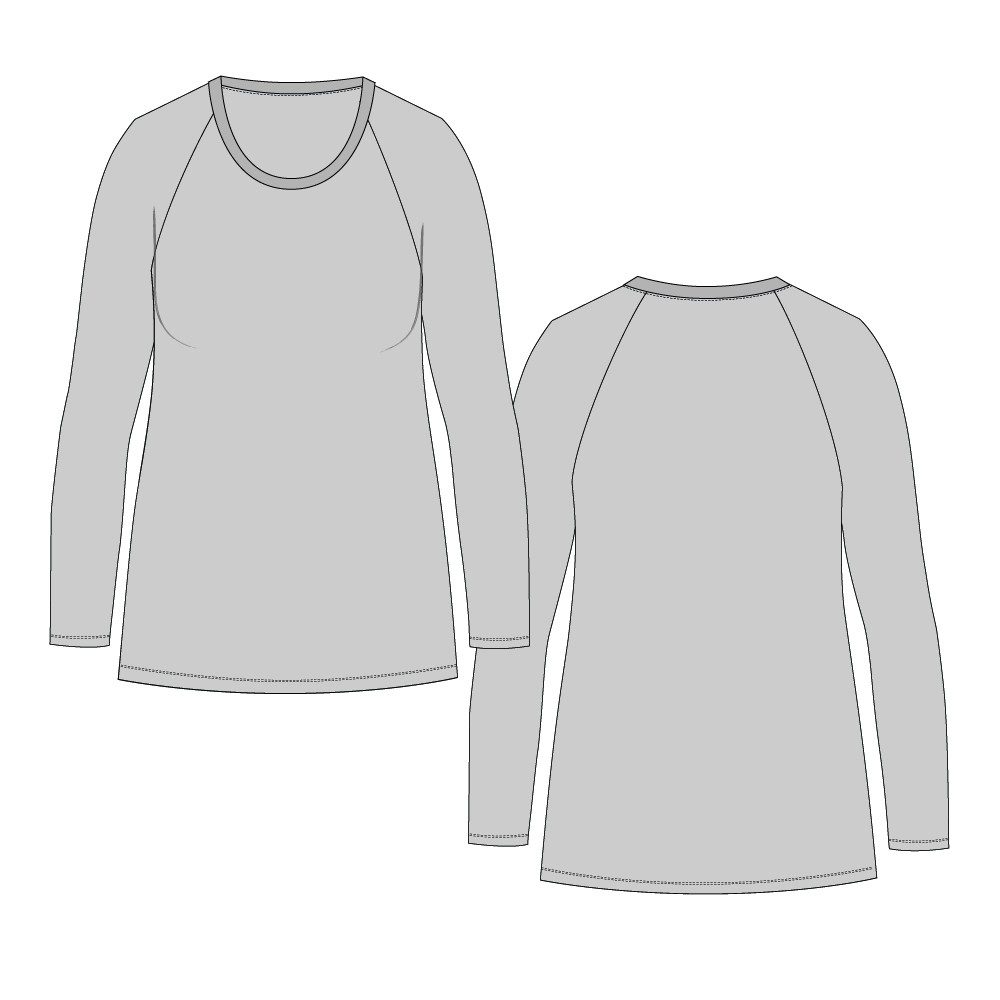 Womens 101 Tight Straight Hem Tee Regular Length-Raglan Wrist Sleeve, Twin-Needle Hem-Plain-Front Mid-Scoop Band-Bind Neckline-NETNNPULSRTN-6-16